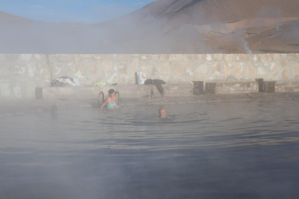Taking a dip, Thermal baths, Geyser del Tatio, Atacama, Chile