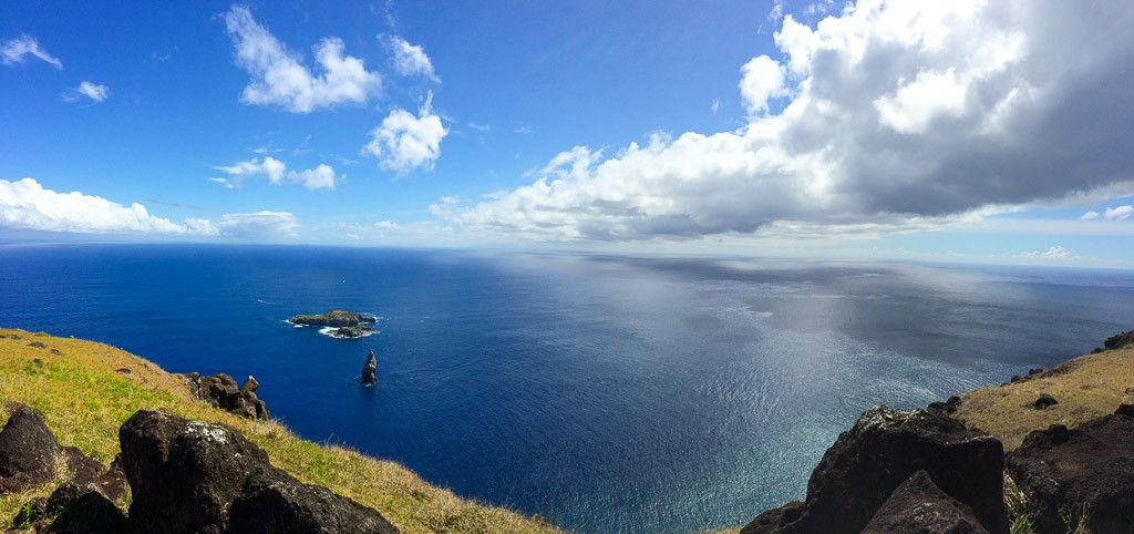 Iti and Nui Motus (islands) as viewed from Orongo on Easter Island, Chile