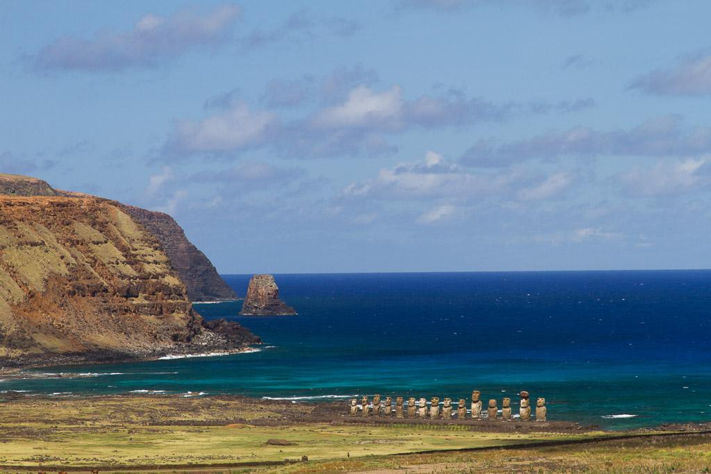 Tongariki from Raraku, Easter Island, Chile