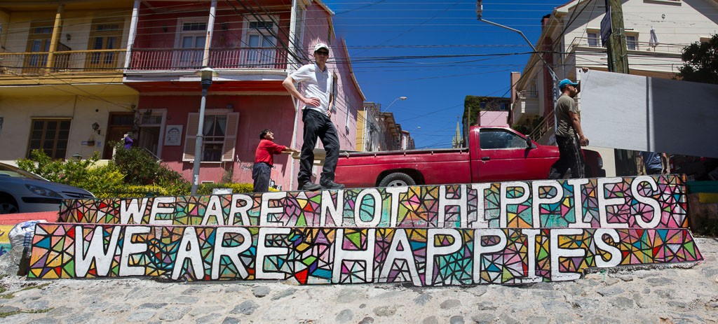 We are happies, Use the Bike, Street Art, Valparaiso, Chile
