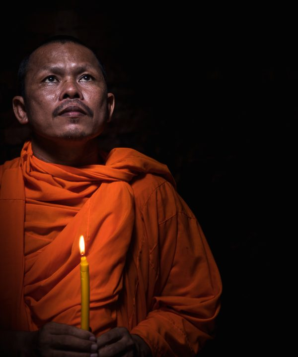 Believing, Monk, Preak Kup, Kampong Thom, Cambodia