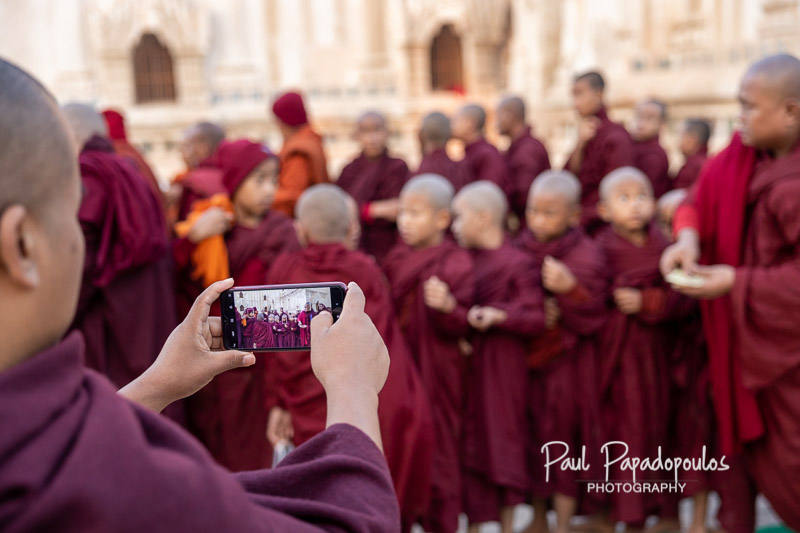 Even monks like taking picturres - Ananda Festival - Bagan, Myanmar